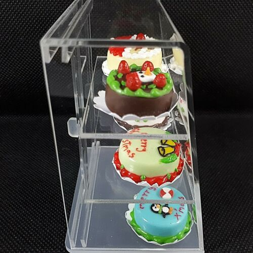 6PC ChristmasCake x 1Cabinet Dollhouse Miniatures Food Groceries Handmade Craft