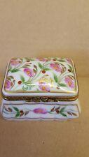 Vintage   Limoge Porcelain Hand Painted  rectangular trinket box