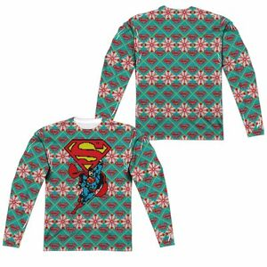 Dc Christmas Sweater.Details About Superman Ugly Christmas Sweater Dc Comics Sublimation Long Sleeve Shirt