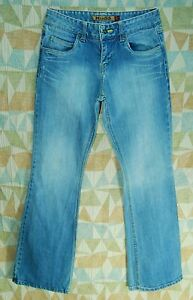 Faded-VINTAGE-Inspired-Rust-Yellow-Stitched-MID-Rise-Flare-Leg-MUDD-Jeans-7