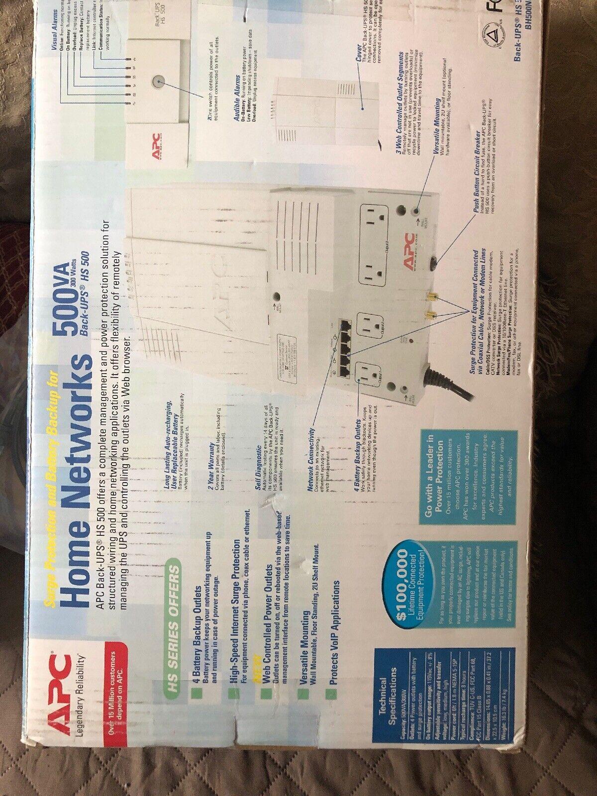 APC Back-UPS HS 500VA ups Uninterruptible Power Supply, Output, 300W,