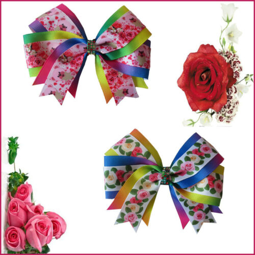"50 BLESSING 4.5/"" Rose Cheer Hair Accessories Bow Clip National Flower Clover"