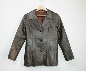 Women-039-s-Vintage-70-039-s-Brown-Real-Soft-Leather-Blazer-Retro-Jacket-Size-M