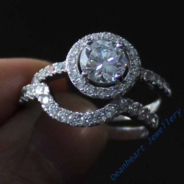 Sz 5-10 Deluxe Diamonique 925 Silver White Sapphire Lady Vintage Couple Ring Set