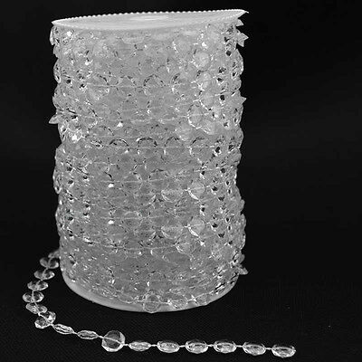99FT Garland Iridescent Clear Diamond Acrylic Crystal Beads Wedding Decoration