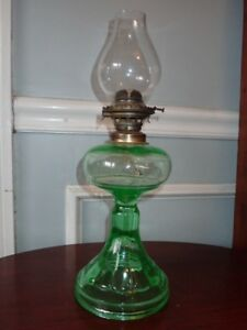 fcd46813315 Image is loading Antique-Uranium-Green-Depression-Glass-Oil-Lamp-Anchor-
