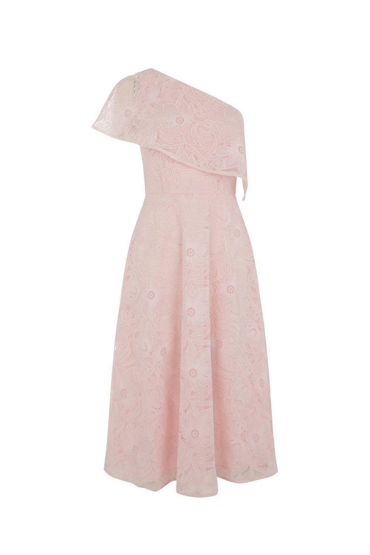 Warehouse Floral Lace One Shoulder Dress Pink Size UK 10 rrp SA171 CC 01