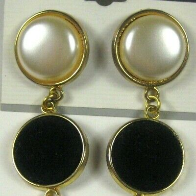 Vintage 70s80s gold hoops large dangle pierced ears