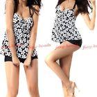 3dedce1c71d98 Lanfei Round Neck Blouson Tankini Polka Dot Swimsuit Set for Women ...