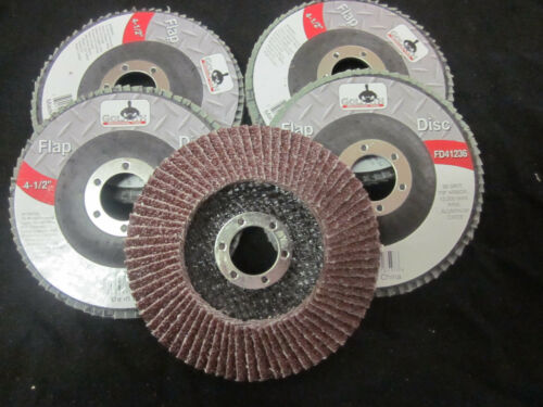 "5pc ALUMINUM OXIDE 36 GRIT 4-1//2/"" SANDING GRINDING WHEEL FLAP DISC 7//8/"" ARBOR"