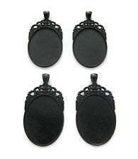4 Goth Metallic BLACK Regal 40mm x 30mm CAMEO Costume PENDANTS Frames Settings