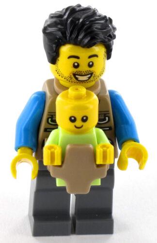 LEGO City Minifigur Vater mit Baby im Tragegurt aus Set 60202 NEU