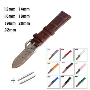 Leather-Watches-Band-Strap-12mm-14mm-16mm-18mm-19mm-20mm-22mm-Brown-Pink-White