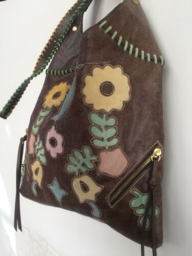 Genuine leather handbag, beautiful Loop bag with patterned lining