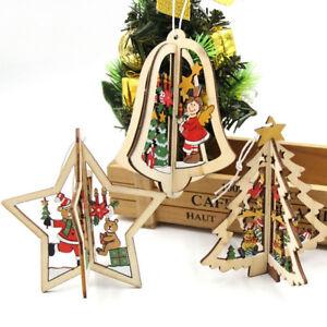 3 palline decorazioni natalizie addobbi legno campana for Decorazioni da tavolo natalizie