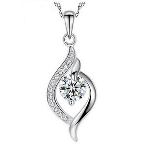 Women 925 sterling silver with diamond pendant love heart necklace image is loading women 925 sterling silver with diamond pendant love mozeypictures Image collections