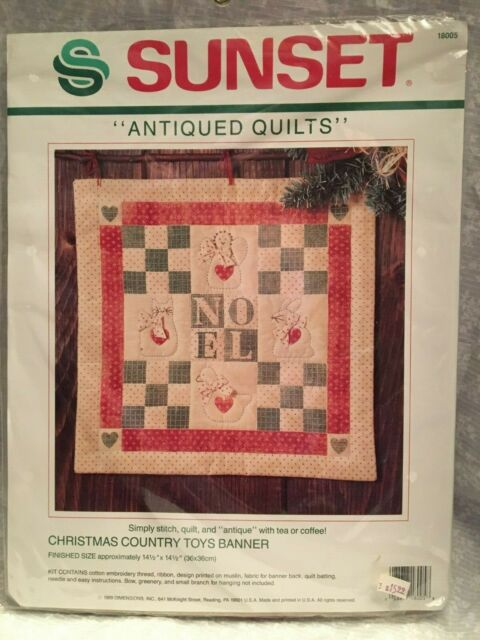 Sunset Antiqued Quilts Kit Christmas Country Toys Banner Simply Stitch Quilt Ebay