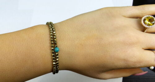 BEADED BRACELET PYRITES WITH NATURAL TURQUOISE BEADS AVAILABLE IN 3 LENGTHS