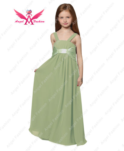 Junior SJ Chiffon A-line Two Straps Long Wedding Party Bridesmaid Dress UK6-14Ys