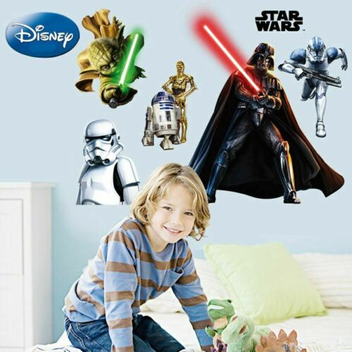 8 Pcs Star Wars adesivos removíveis de parede Arte decoração do berçário Decalque Mural Meninos Decoração
