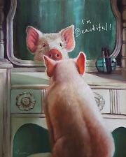 ADORABLE PIG POSTER Who's the Fairest I'm Beautiful pink piglet mirror art print