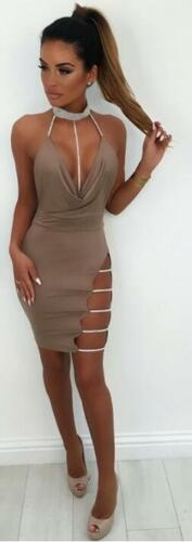 Womens Suede V Neck Side Slit Midy Knee Length Dress Belted Party Bodycon Towie