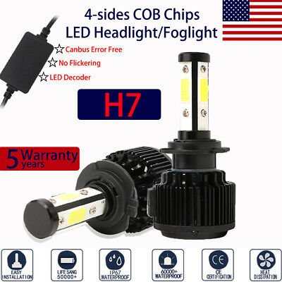 2x 4-Side 9004 240W 32000LM LED Headlight Kit High Low Beam Fog Lamp Bulb Canbus
