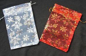 20-X-Bolsas-De-Organza-Navidad-Copo-De-Nieve-Grande-13CM-X-9CM-Rojo-O-Blanco