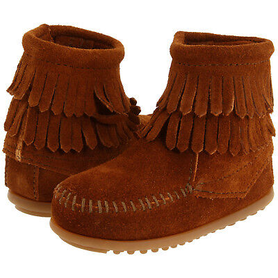Minnetonka Kids//Toddler Double Fringe Side Zip Suede Ankle Boot Brown