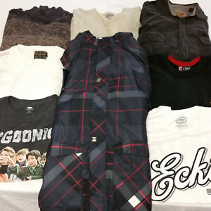 Mens-Large-Clothes-Lot-8-Pieces-Mixed-Shirts-Jacket-Sweaters-Good-Clothing