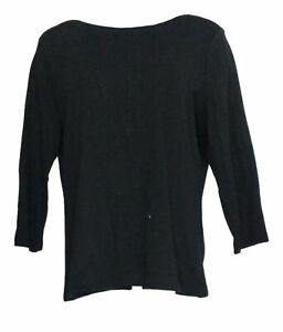 Isaac Mizrahi Live! Women's Top Sz L Boat Neck 3/4 Sleeve Knit Top Black A378115
