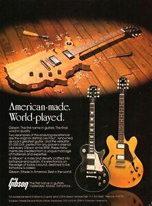 vtg 80s GIBSON AMERICAN MADE GUITARS MAGAZINE AD Les Paul ES-335 Dot USA Shape