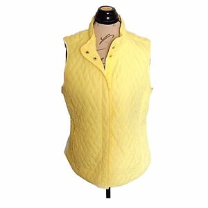 Croft-amp-Barrow-Size-Medium-Jacket-Quilted-Vest-Yellow-Pockets-Camping-Womens