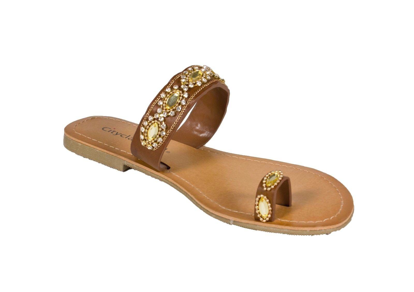 Okala! City Classified Women Tan Gemstone Toe Ring Flat Sandal Tan Women Leatherette 0262c1