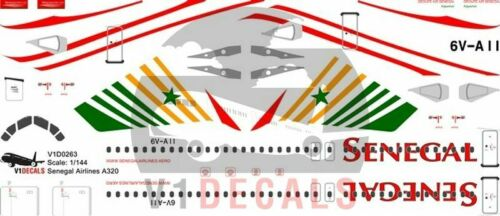 V1 Decals Airbus A320 Senegal Airlines for 1//144 Revell Model Airplane Kit