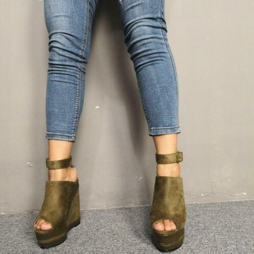 Women Elegant Summer Sandals Platform High Wedges Heels Peep Toe Green Shoes US