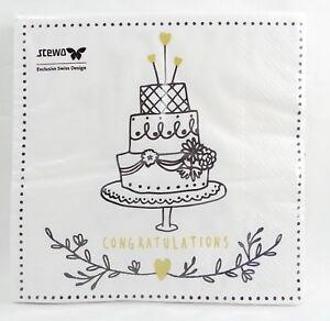 20 Servietten Belia Hochzeit Torte Auto Hochzeitstorte Herz 33x33