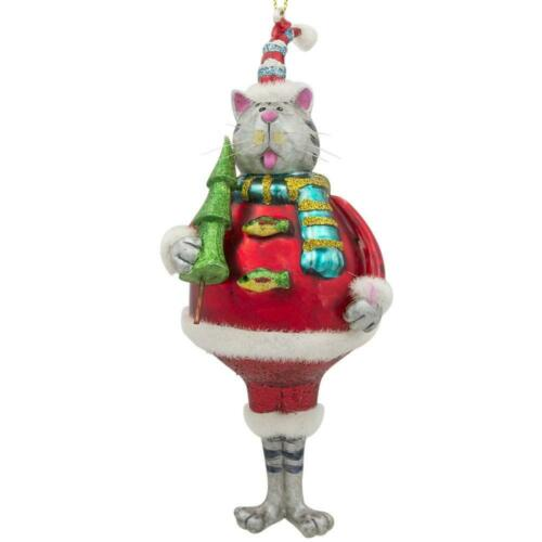 Chubby Cat in a Hat Glass Christmas Ornament