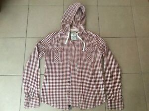 CROSS-HATCH-Slim-Fit-Checked-Hoodie-Shirt-Size-M