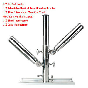 Amarine-made 3 Tube Silver Highly Polished Stainless Steel Trident Outrigger Stylish Rod Holder Triple Rod Holder Kite Fishing Mount 3-rod Holder