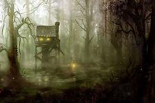 Stampa incorniciata-Casa sull'albero in una foresta PALUDE maledetto (PICTURE ARTE GOTICA horror)