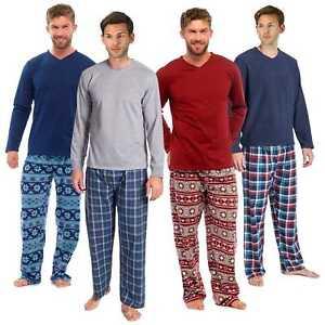 Mens Warm Fleece Jersey Winter PJ Pyjama Set Night Wear PJ s Pyjamas ... 2f2bf9515