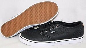 Low Perforated Sneakers New Womens Vans Leather Atwood Black Casual PkXuZOiT