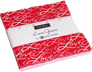 Love-Grows-Moda-Charm-Pack-42-100-Cotton-5-034-Precut-Quilt-Squares-by-Deb-Strain