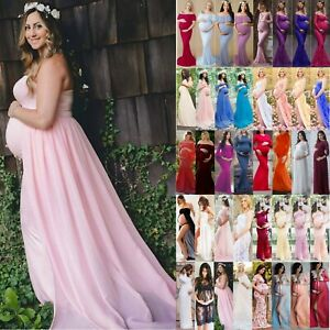 265e929299 Pregnant Womens Maternity Lace Long Maxi Dress Gown Photography Prop ...