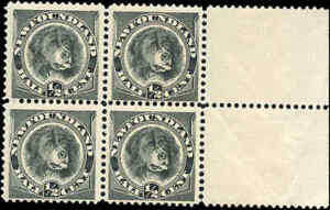 Mint-Canada-Newfoundland-1894-F-Scott-58-Block-of-4-Stamps-Never-Hinged