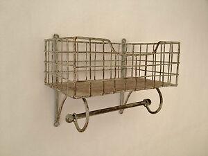 Wire Shelf And Rail Unit Kitchen Wall Rack Vintage Storage Industrial Organiser