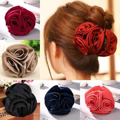 Fashion Womens Chiffon  Girls Rose Flower Bow Hair Claw Jaw Clip Clamp Barr N6J8