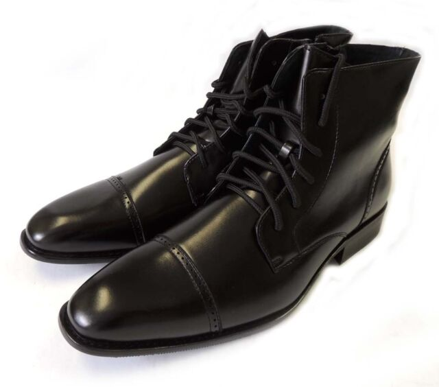 NEW MENS LEATHER LINED ANKLE BOOTS LACE UP OXFORDS CAP TOE DRESS SHOES BLACK
