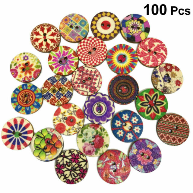 100pcs Colors Floral Shape 2 Holes Wooden Sewing Buttons Fasteners DIY Craft